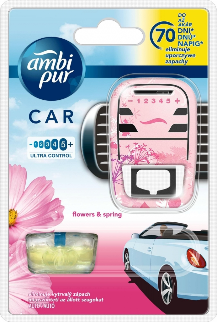 Ambi Pur Car Flowers & Spring osvěžovač, strojek + náplň 7 ml