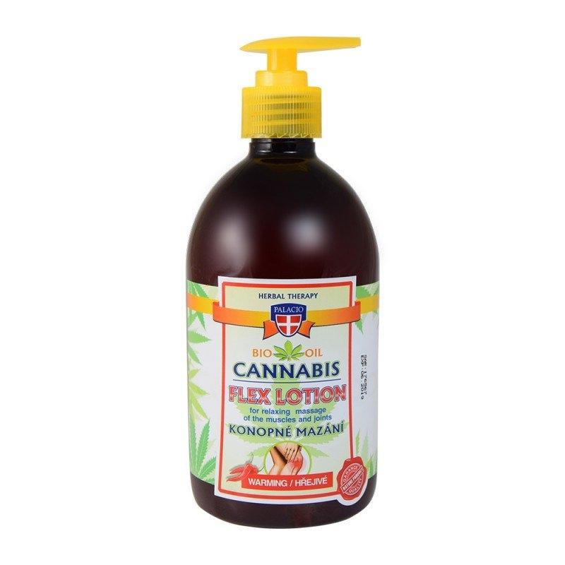 Palacio Cannabis Lotion konopné mazání s pumpičkou hřejivé 500 ml (červené)