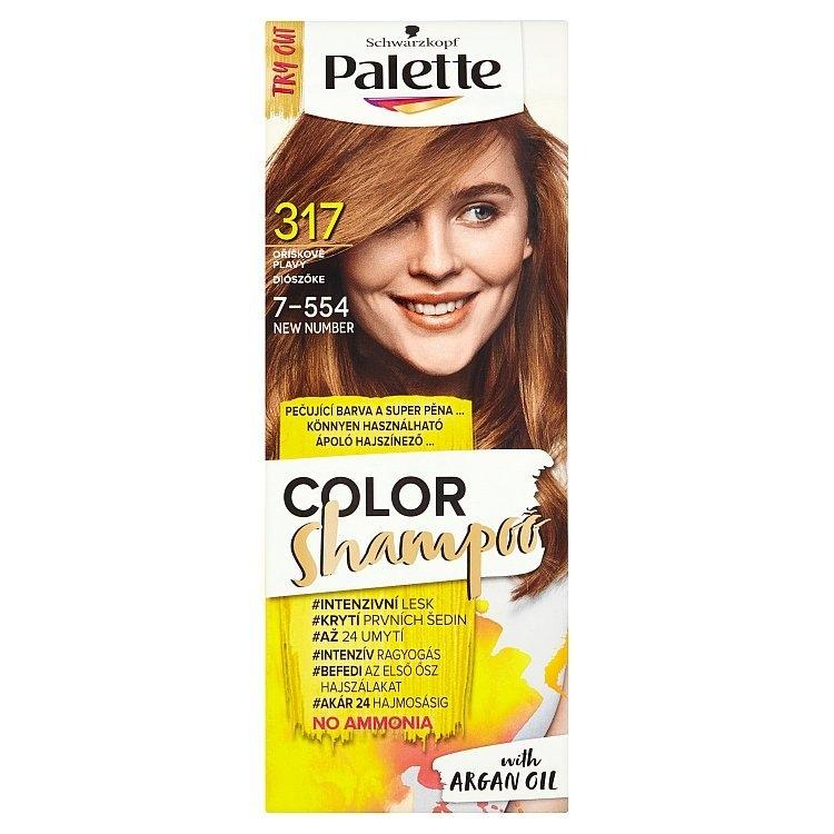 Palette Schwarzkopf Color Shampoo barva na vlasy Oříškově plavý 317 (7-554)