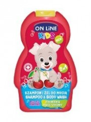 On line kids 2v1 šampón a sprchový gel NEW Sweet cherry 250ml (červený)